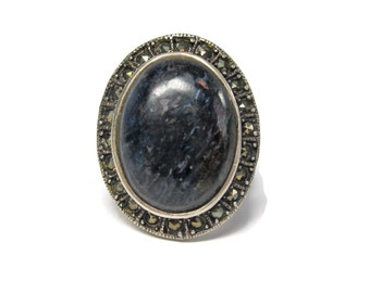 Large Vintage Oval Sodalite Marcasite Ring Size 8
