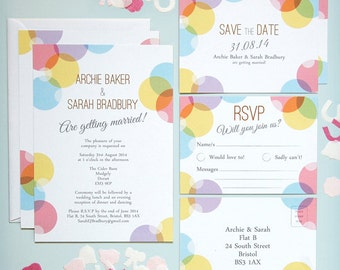 SAMPLE - Betty Confetti Vintage Style Quirky Wedding Invitation, Save The Date, RSVP Stationery Suite / Set Samples