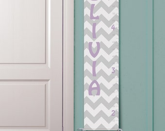 "Personalized Growth Chart ""Chevron in Light Purple and Grey"""