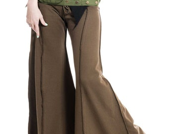 HIPPIE FLOW PANTS, psy trance trousers, extra wide flares, hippy flare pants, dance trousers, pixie clothing, goa tribal wear, green flares