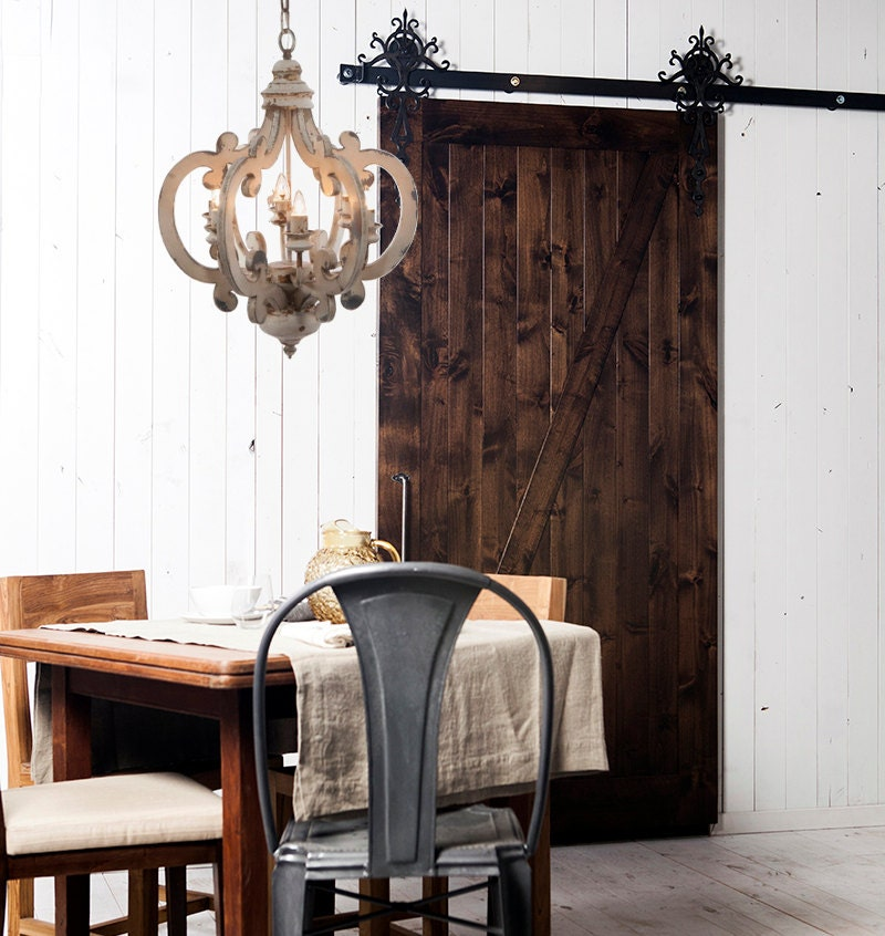 ... White Distressed Chandelier Painted 6 Light/Pendant Light/French  Country Lighting/Shabby Chic ...