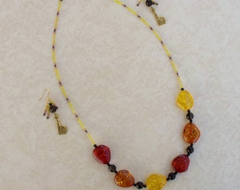 Colors of the Giraffe Earrings and Necklace Set JENSet00802