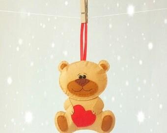 felt bear ornament, felt valentine bear, magnet bear, wall decor bear toy, stuffed teddy bear, plush bear, felt toy, stuffed animal