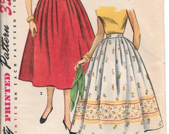1957 Simplicity Pattern 4648 Rockabilly Simple to Make Full Skirt Waist 26
