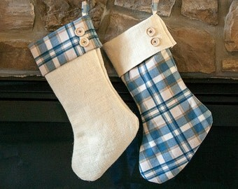 Plaid and Natural Burlap Christmas Stocking, Blue, Burlap Stocking, Handmade Rustic