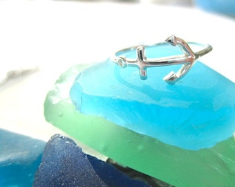 Small Sideway Anchor ring:  sterling silver*