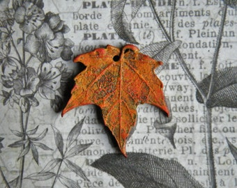 NEW! Rustic Fall Sugar Maple Leaf Pendant, Orange with Hints of Burnt Orange and Rust, Polymer Clay
