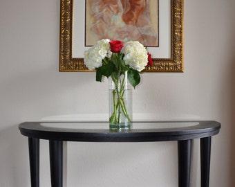 Black Wood Demilune Table