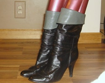 Vintage Black Leather Fold Down SLOUCH High Heel Ankle Boots~8~