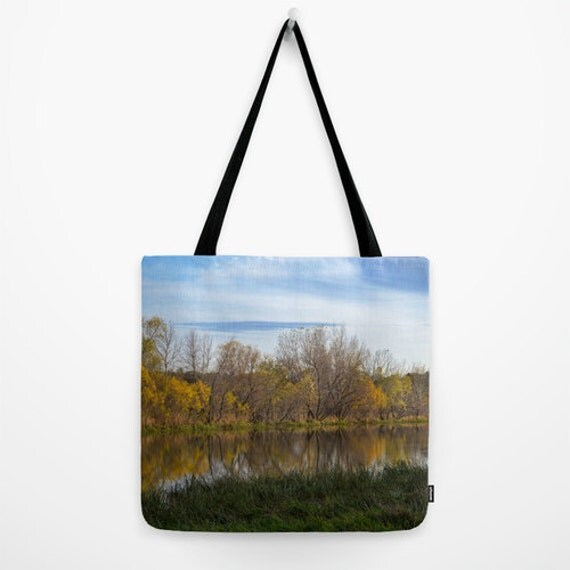 Fall Tote Bag, Autumn Images, Reusable Bag, Grocery Shopping, Yellow Green Blue, Nebraska Images, Travel Carry All, Small Purse, Large Tote