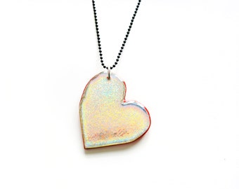 Large Heart Pendant, Red Heart Necklace, Valentine's Day Holographic Charm Two Sided Necklace, Iridescent Rainbow Plexi Resin Necklace