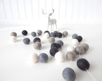Gray Ombre Garland, Nursery Decor, Wall Decor, Felt Ball Garland, Pom Pom Garland, Felt Garland, Gender Neutral, Pom Pom Bunting, Gray, Grey