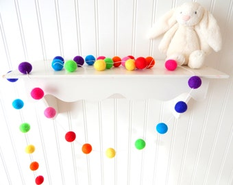 Garland, Nursery Decor, Felt Ball Garland, Birthday Garland, Birthday Party Decor, Rainbow Garland, Pom Pom, Baby Shower Decor, Photo Prop