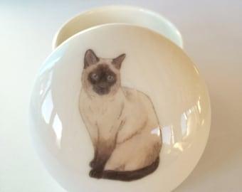 Small Siamese Cat Trinket Box