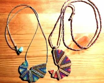 Nautilus-Spiral cavandoli macrame necklace