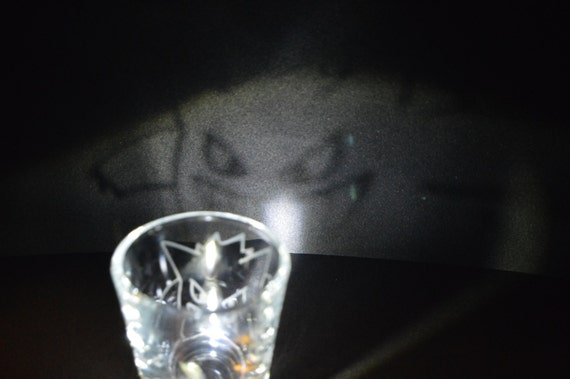 Gengar line art Etched shot glass Fan Art