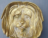 Vintage Cast Brass Dog Dish, Ring Bowl, Yorkshire Terrier Lhasa Apso Shi Tzu