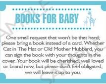 """Printable DIY Blue Safari Baby Shower """"Books For Baby"""" Insert"""
