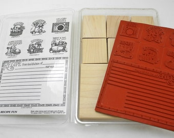 Recipe Fun Rubber Stamp Set by Stampin' Up! - 7 Stamps & Wood Bases New in Case