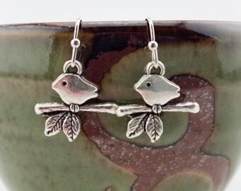 Silver Bird earrings - Bird jewelry - bird nest earrings - branch earrings - cute bird earrings - cute bird jewelry - minimalist earrings