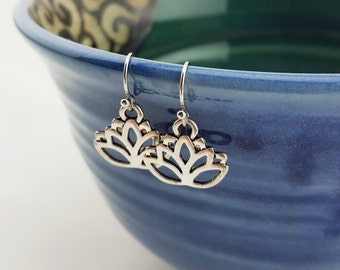 Lotus earrings - Lotus jewelry - silver Lotus earrings - Yoga jewelry - Yoga earrings - lucky lotus earrings - rise up - Silver lotus charm