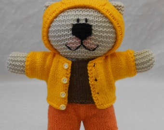 Knitting Pattern Bear Hoodie : Knit Boy Teddy Bear Clothes PDF Knitting Pattern for ...