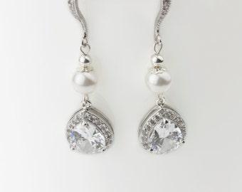 Bridal Earrings, Wedding Earrings, Rhinestone Earrings - Emma