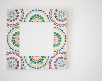 Square Mosaic Mirror with semi-circle patterns