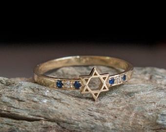 Jewish Star Ring with Sapphires - Magen david jewelry - Israel made jewelry