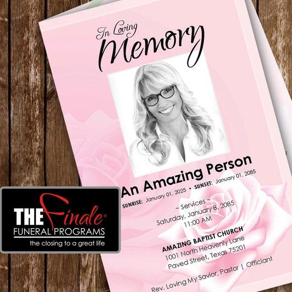pink rose     printable funeral program by thefinalefnrlprgrms