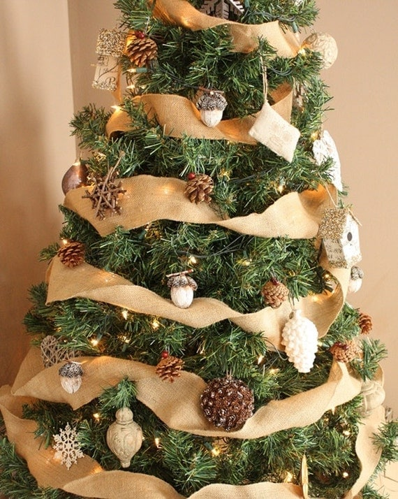 Burlap christmas tree ribbon burlap ribbon tree ribbon for Burlap ribbon on tree