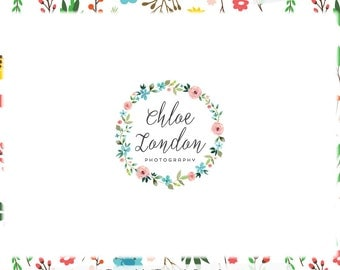 Watercolor Floral Wreath Premade Logo Design - Web and Print - Limited Edition! Perfect For Photographer, Boutique, Designer, Florist & more