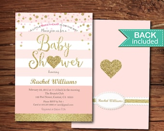 Valentine baby shower invitation. Pink and gold glitter heart baby shower invitation Little sweetheart baby girl shower digital invite VB001