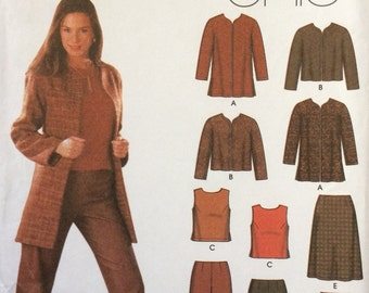 2002 Simplicity 5921 UNCUT Misses Jacket In Two Lengths, Top, Pants and Skirt