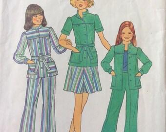 Simplicity 7368 UNCUT Girls Shirt-Jacket, Skirt, and Pants