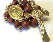 St. Benedict Rosary/Car Rosary 2 Decades in Goldsand Stone Beads with a Miraculous Medal