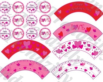 Valentine Cupcake Wrapper and Toppers, Heart Valentine's Cupcake, Valentine's Day Party Decor, Printable Cupcake Wrapper Topper Download.