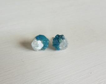 Apatite and celestite raw gemstone   studs earrings,minimalist earrings,raw rough stone earrings