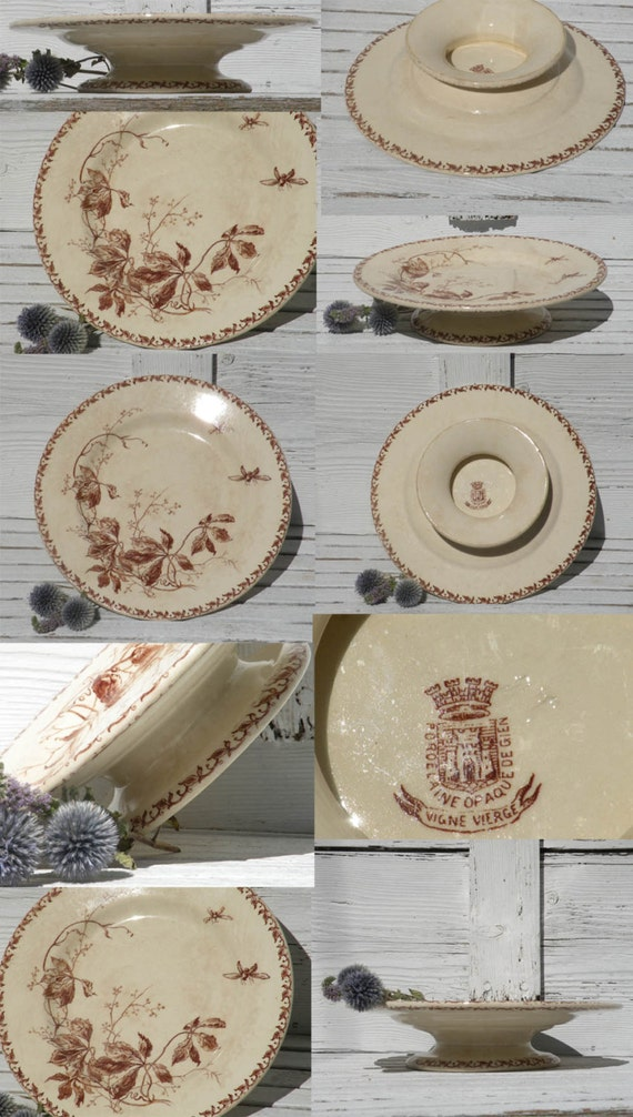 Small CAKE PLATE French, antique ironstone cake plate by Gien, ironstone cake plate, French cake plate, Gien cake plate Brown transferware