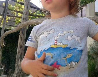 Underwater world t shirt, hand painted T shirt, T shirt for kids, Toddlers tee, Tee hand painted, Cotton T-shirt Unique T shirt for kids