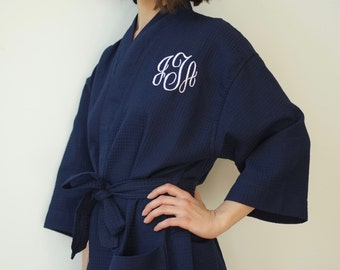 Monogrammed Robe Bridesmaid Gift Waffle Robe Kimono Spa Robe Personalized Bridesmaids Gifts Personalized Robe