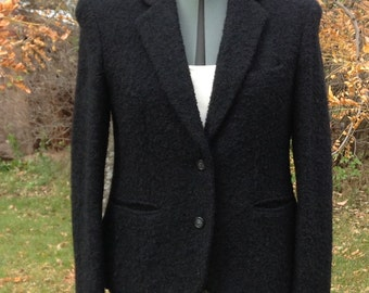 Vintage BUFFUMS Womens Wool Suit Jacket, Size Approximately 8, Black