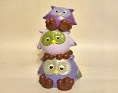 Stack of Three Purple Owl Piggy Banks, Owl Piggy Bank, Purple Piggy Bank, Perfect for Baby's Nursery or Kid's Bedroom, Purple Owl Piggy Bank