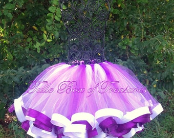 Purple & White Satin trimmed tutu, created by Maggie