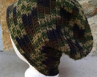 Hand-Crocheted Slouchy Beanie in Camouflage