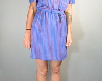 80s Valley Girl Dress// Purple Secretary Dress Puff Sleeves// Totally 80s Dress