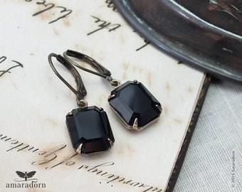 Classic Jet Black Crystal Earrings, Art Deco Earrings with Vintage Swarovski Crystal, Antiqued Brass Estate Style Earrings, Handmade UK