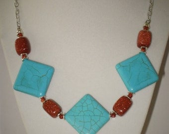 Blue Howlite & Sparkling GoldStone Necklace