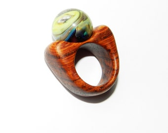 Wooden ring with lampwork, Hand carved ring, Exotic wood ring