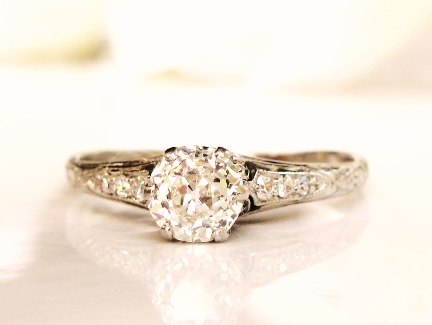 antique edwardian engagement ring 0 86ct by